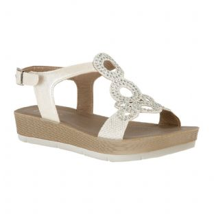 Lotus Womens Leela White Open Toe Sandals